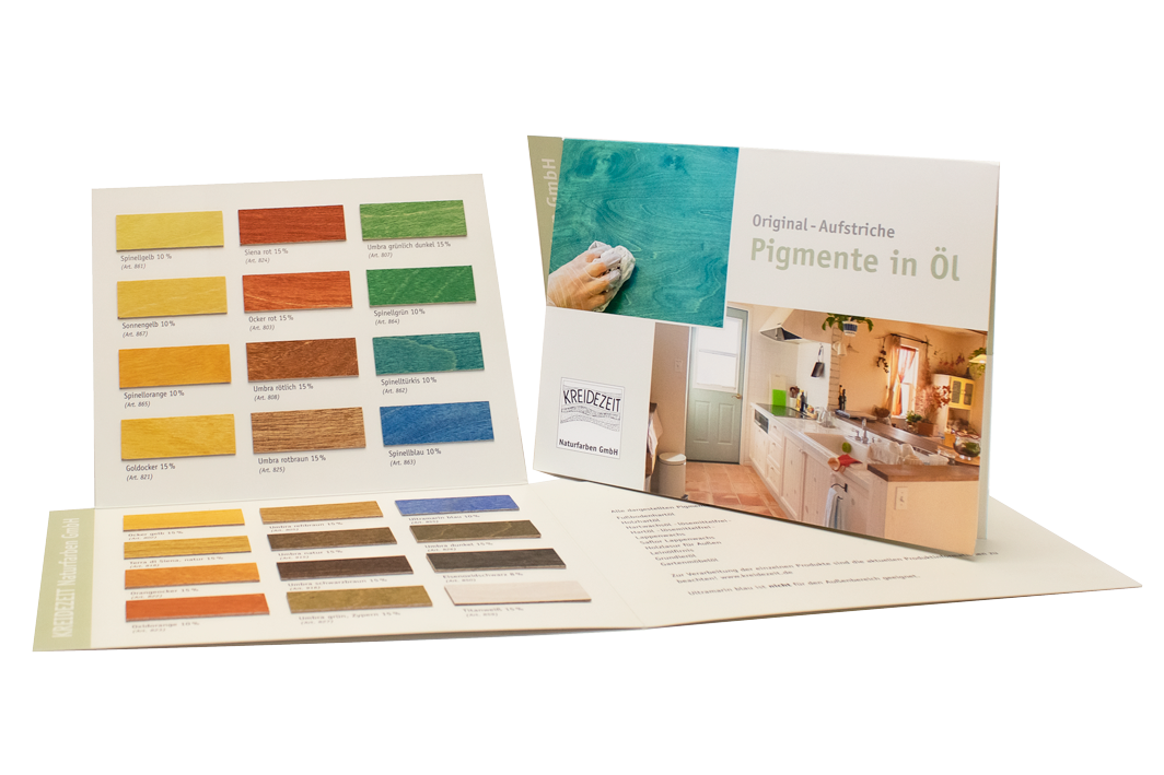 Kreidezeit Farbkarte Pigmente in Öl